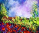 A French Village with Poppies